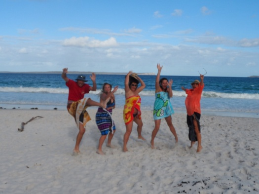 Family jumping for joy