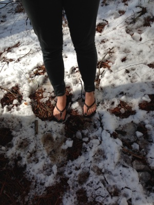 Not quite appropriate footwear for snow