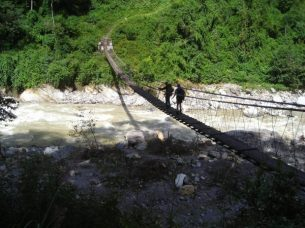 Swinging bridge in Nepal