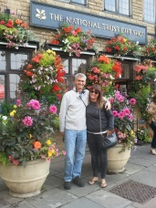 Dad and daughter with the beautiful flowers in Wells