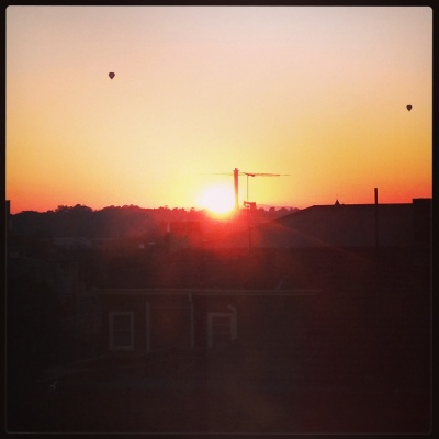 Sunrise over Melbourne from my hospital room - with hot air balloons floating by