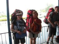 Cheryl and Debbie all loaded up in Nepal