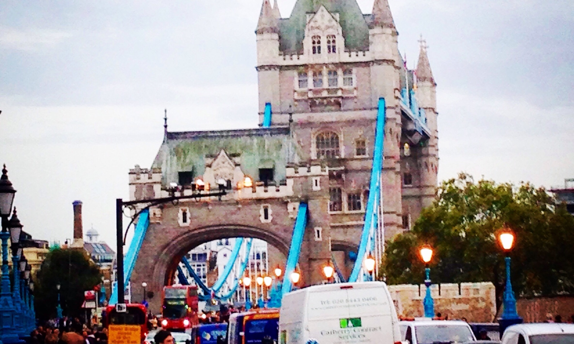 Busy road over Tower Bridge in London