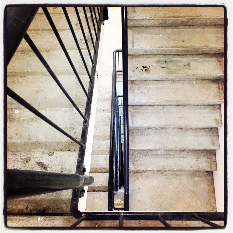 The stairwell - not the most attractive place to be stranded!