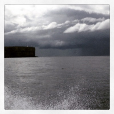 A stormy black sky ahead - we headed out to sea towards this but all was fine