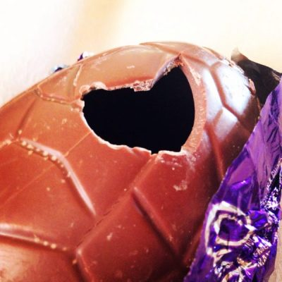 Easter egg broken open