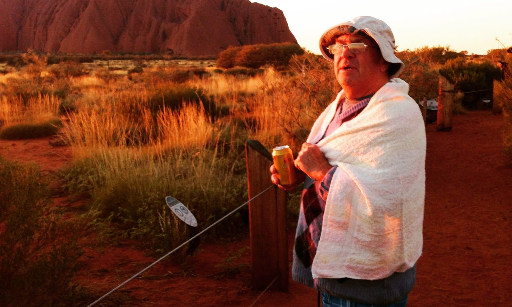 A mad Englishman at sunrise at Uluru