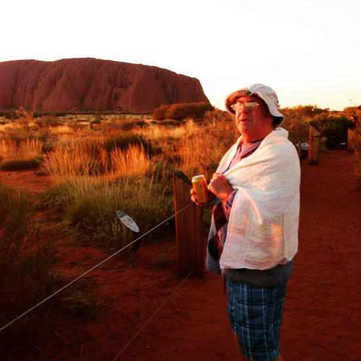 A mad Englishman at sunrise at Uluru
