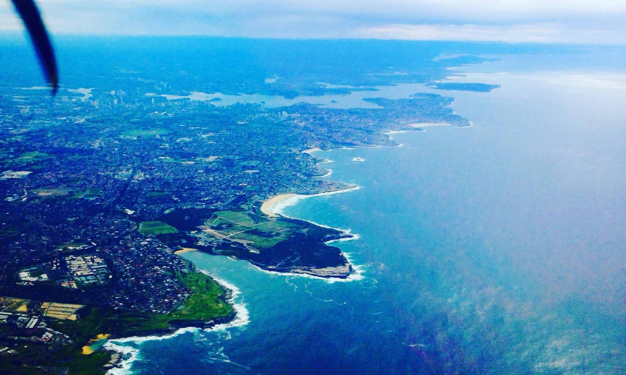 Flying into Sydney, view from the plane window