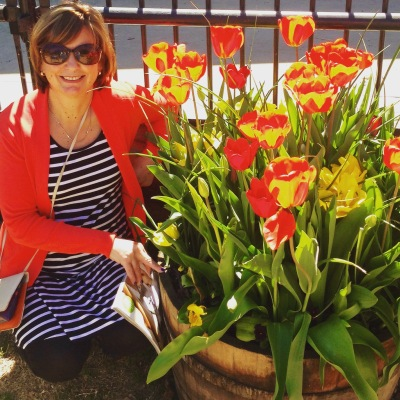 with tulips