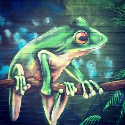 Green frog mural