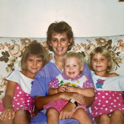 With my three girls in 1990