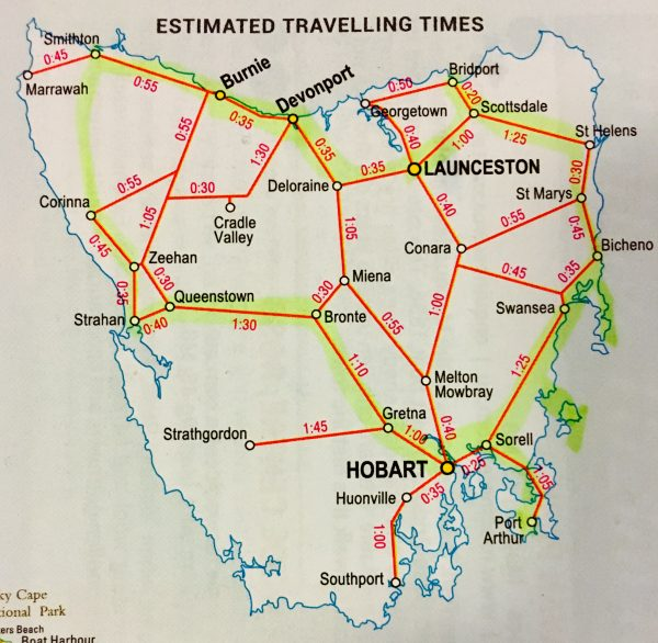Tasmania Map, travel, touring
