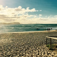 Gold Coast beach, view across water, winters day