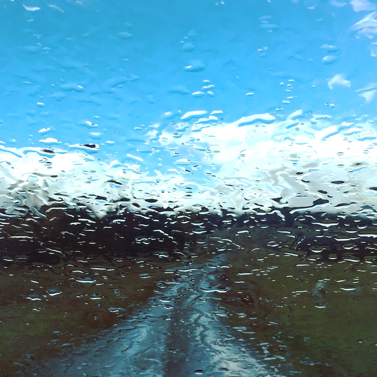 Winter, raindrops and blue sky