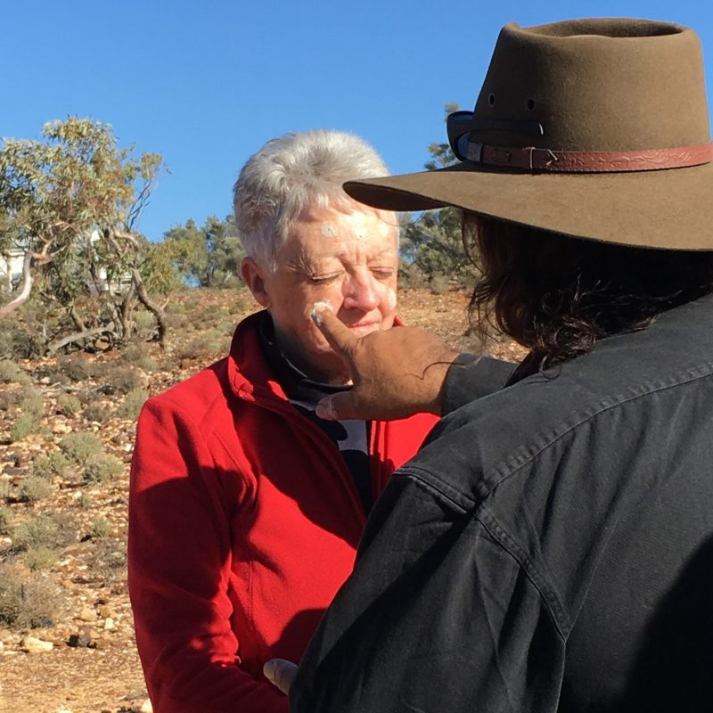 Painting faces in the Flinders Ranges