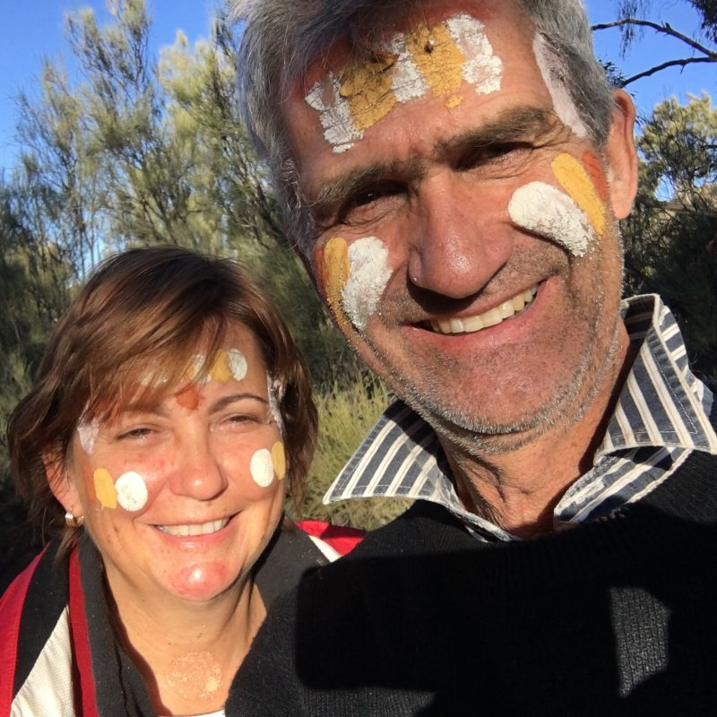 Proud of our painted faces in the Flinders Ranges