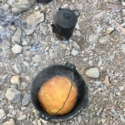 Damper and billy tea cooked over the campfire in Outback Australia