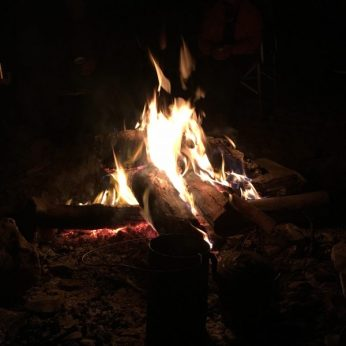 Campfire roaring after dinner was cooked