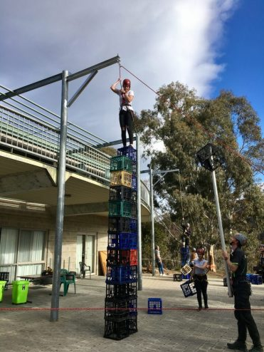 Success at crate stacking activity at Rotary Youth Exchange weekend