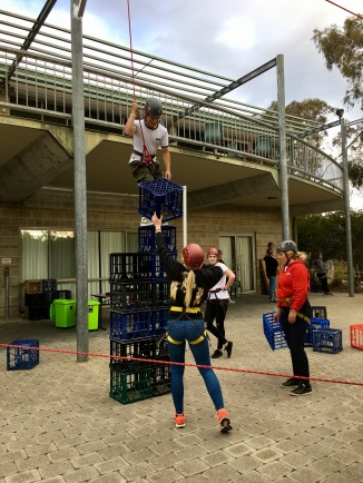 Crate stacking at Rotary Youth Exchange weekend