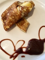 Banana Crepe with side serve of a chocolate heart