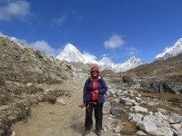 Louise trekking towards Everest Base Camp
