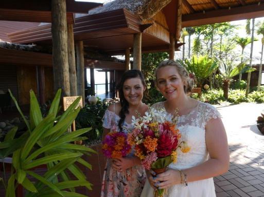 Glowing Bride and Bridesmaid at Outrigger Resort Fiji