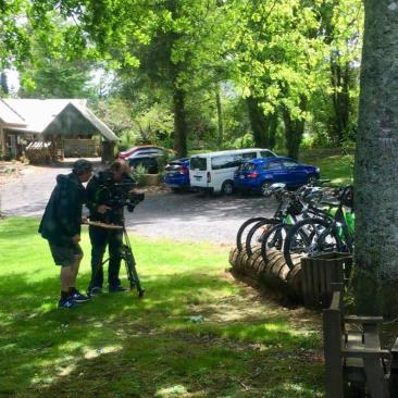 filming bikes for TVNZ on Hauraki Rail Trail