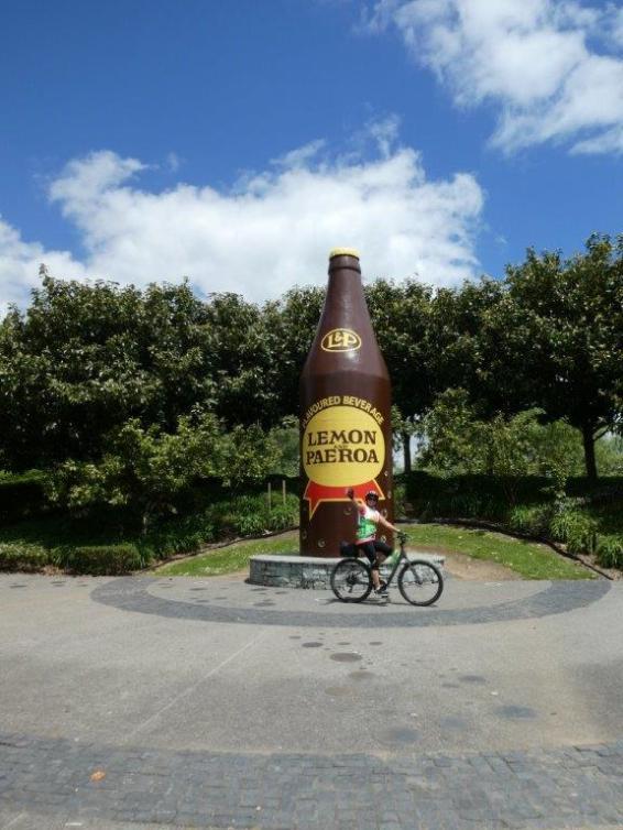 The famous L&P bottle at Paeroa