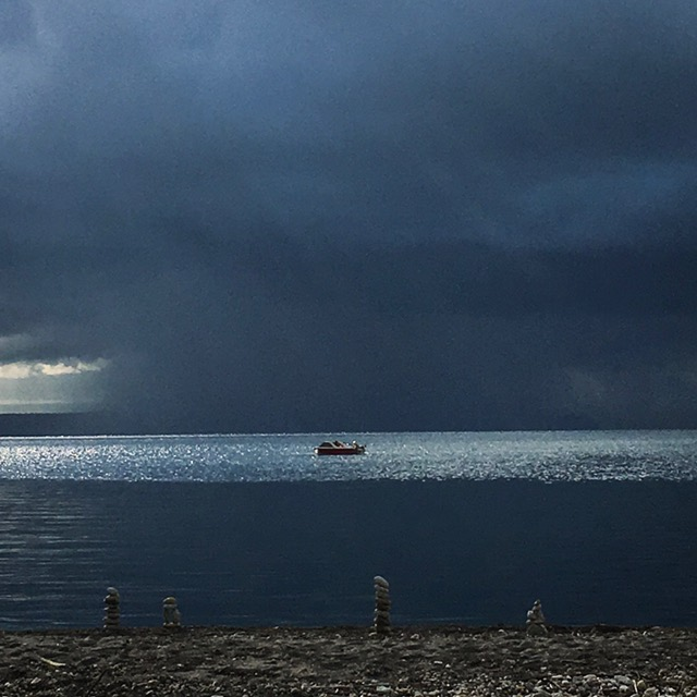 A storm approaches over Lake Taupo