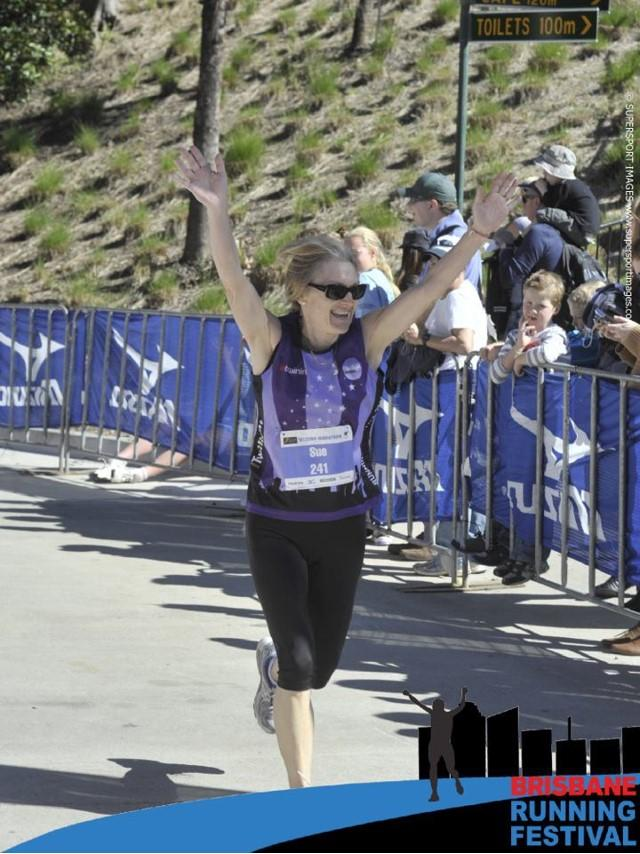 Sue's marathon finish