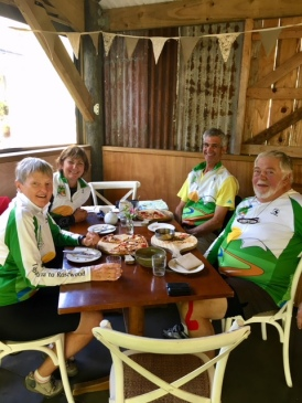 Lunch break at The Falls Retreat Bistro on the Hauraki Rail Trail