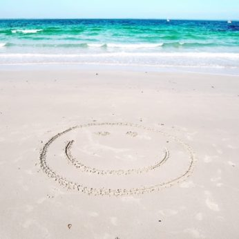 beach smiley face at Vincentia
