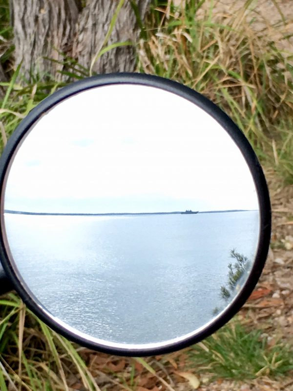 There's a ship in the mirror - captured while out riding my bike