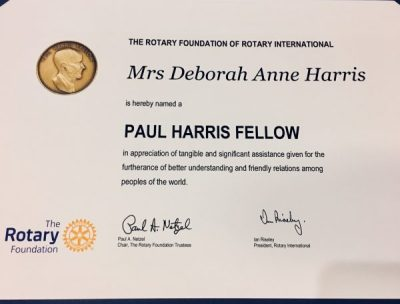 Paul Harris award for Debbie Harris!