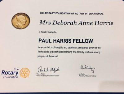 Paul Harris award for Debbie Harris!