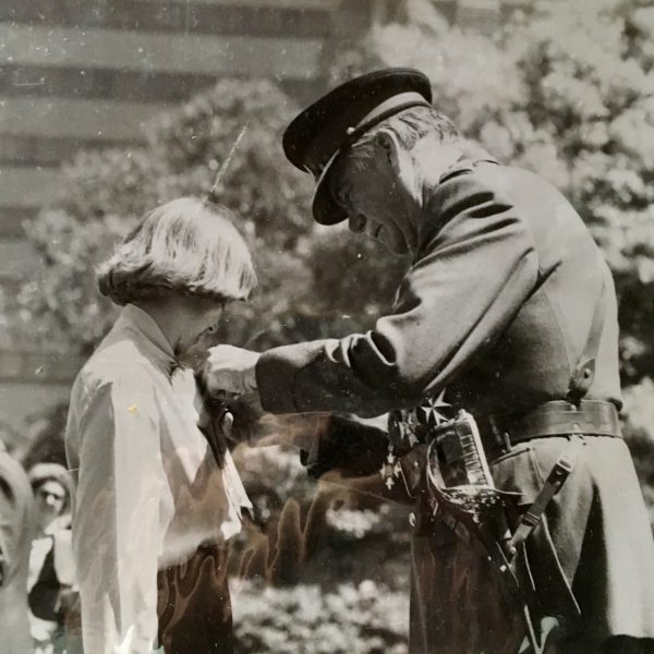 Receiving my Bravery Award in 1979
