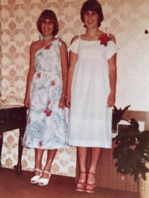 Wearing the lovely dresses our mother had made us. This blue dress is what I was wearing the night of the accident.