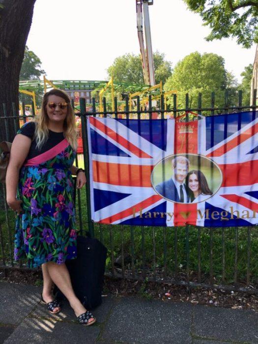 Melanie with the Royal Wedding Bunting