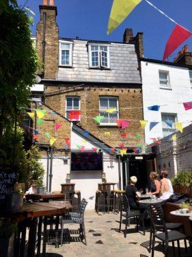 The sunny beer garden
