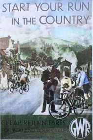 Poster advertising train travel and bike riding
