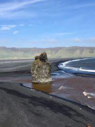 Black sandy coastline at Reynisfjara Iceland