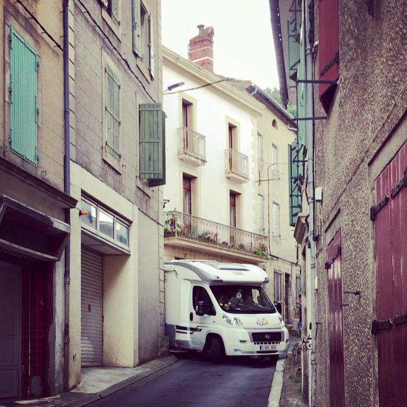 Van stuck in narrow lane in Mazamet France