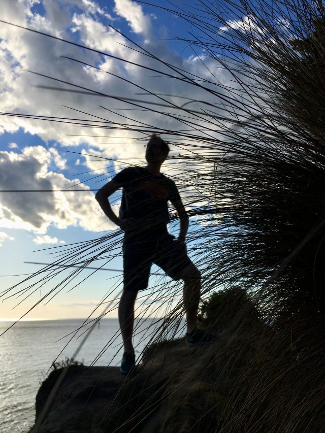 Action man in silhouette