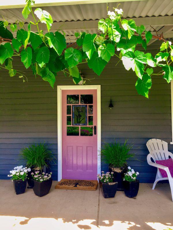 Pink door at Tooma