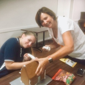 Step 1 Gingerbread house roof on