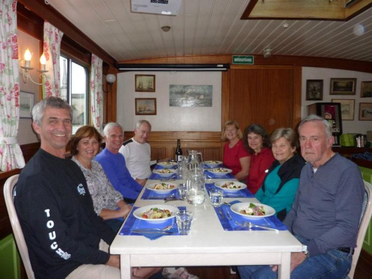 Dinner on board the barge