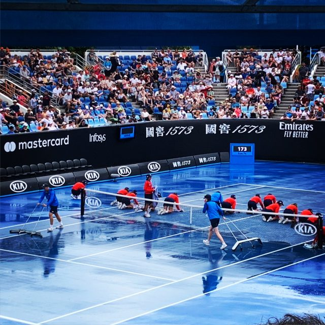 Rain delay with all hands on deck at Australian Open Melbourne