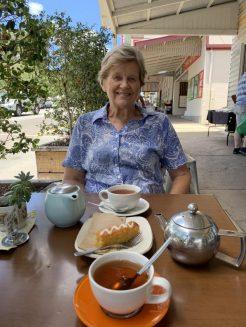 Enjoying a cup of tea with mum